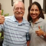 physical therapy specialist Dr. Asha Koshy Pumarada and back pain patient Vincent