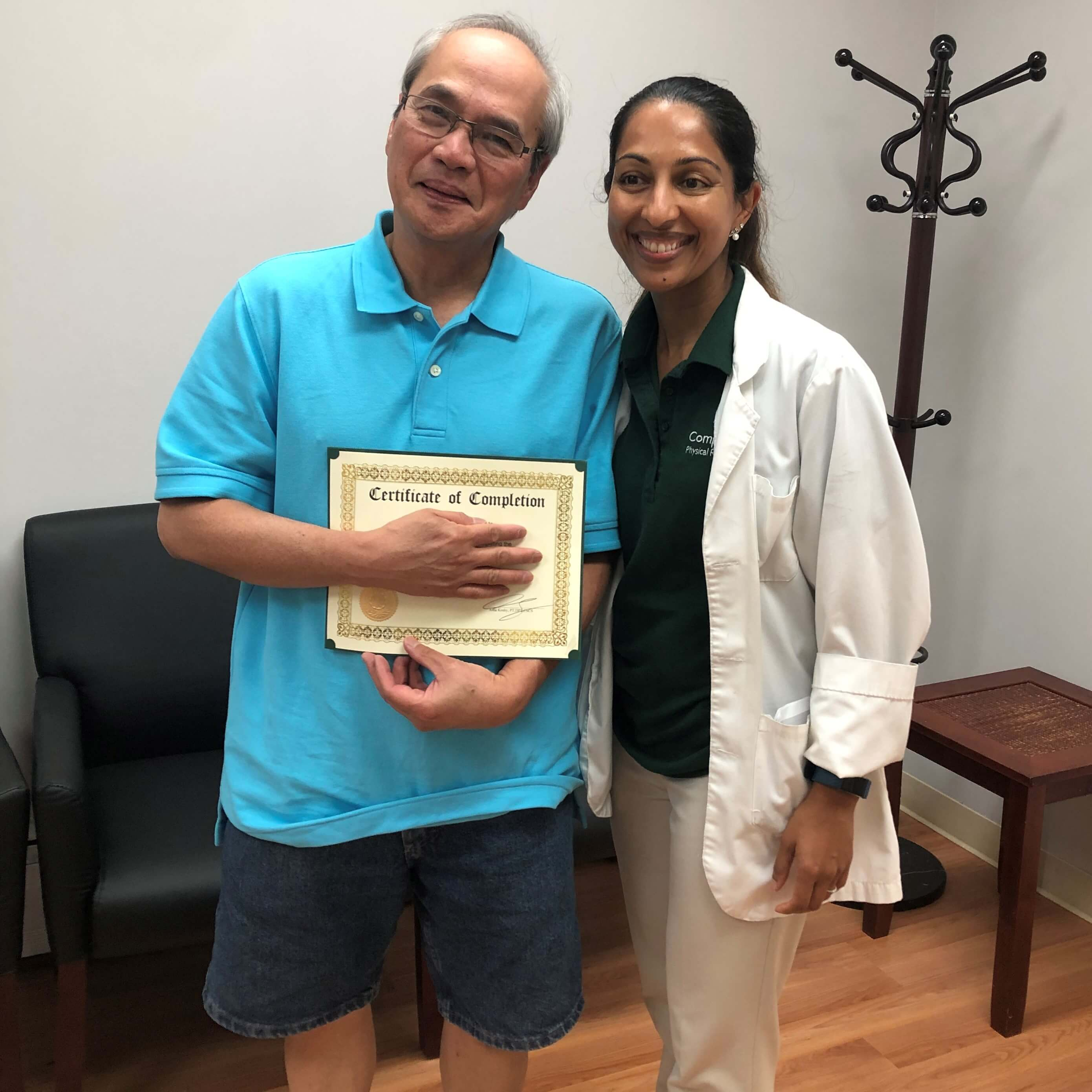 elizabeth nj physical therapy specialist dr. asha koshy with neck pain success story at complete physical rehabilitation jersey city